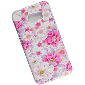 Samsung Galaxy S6 Protective Slim Case. Tasche Cover. Pink Flowers.