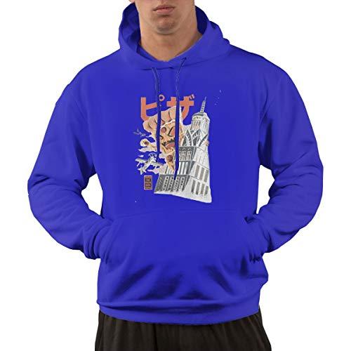 Men's Hoodie Sweatshirt Pizza Kong New Classic Minimalist Style Blue XL