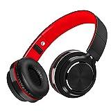 Auriculares Bluetooth Inalámbrico con Cancelación Ruido, MeihuaTu Sobre oreja Audífonos estéreo de Hifi con micrófono incorporado para Iphone 8/7/x/6, tabletas PC Samsung Huawei Xiaomi TV / Mp4 (Negro&Rojo)