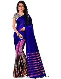 Venisa Women's Handloom Cotton Saree With Blouse Piece (Y005_Blue_Free Size)