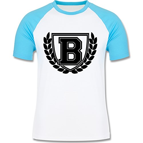 Anfangsbuchstaben - B Collegestyle - zweifarbiges Baseballshirt für Männer Weiß/Türkis