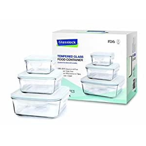 Glasslock Boîte Alimentaire carrée en verre, Lot de 3 (1x 490ml, 1x 1200ml, 1x 2600ml) GL-155