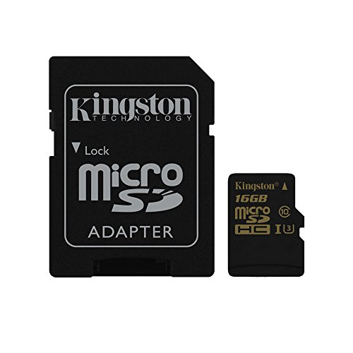 Kingston Gold Carte microSD UHS-I Speed Class 3 (U3) 16GB avec Adaptateur SD