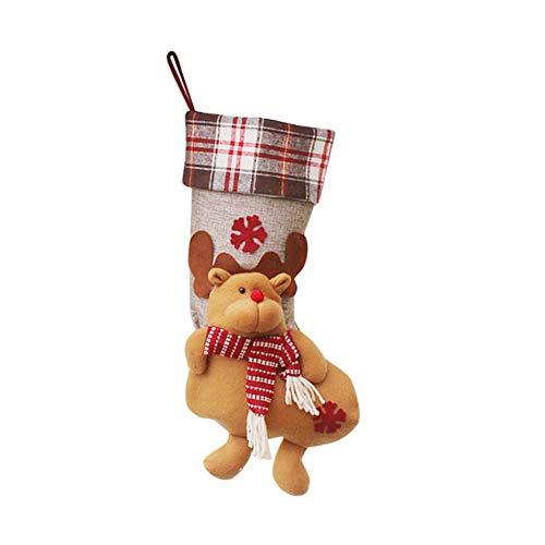 biback Weihnachtsstrümpfe Socken Hängen Weihnachten Dekoration Weihnachtsstrumpf-Geschenktasche Weihnachtsanhänger-Verzierung Weihnachtself-Süßigkeits-Tasche von biback