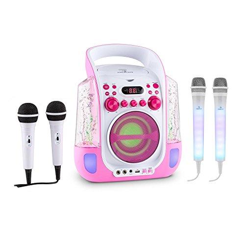 auna Kara Liquida und Dazzl Mic Set • Karaoke-Anlage • Karaoke-System • Karaoke-Set • Multicolor-LED-Lichteffekt mit Wasserfontäne • MP3 • USB-Port • Bluetooth • Echo-Effekt • A.V.C-Funktion • pink