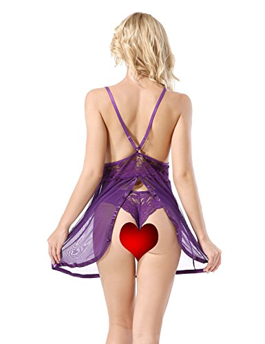 Yidarton Donna Intimo Lingerie Pizzo Sexy Badydoll Biancheria Intima Lace Pigiama Con G-String Viola