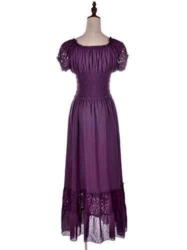 Anna-Kaci Bohême style Paysan jeune fille inspiré chapeau Blanc manche dentelle garniture robe grande Violet