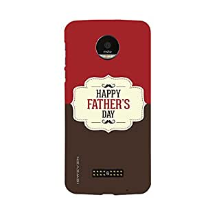 iSweven MotoZ_1072 Printed high Quality Red_and_Broun_color_happy_fathers_day Design Back case cover for Motorola Moto Z