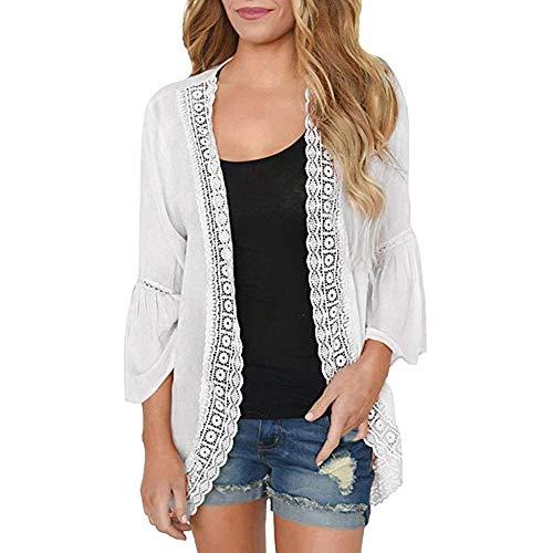 TEFIIR T-Shirt für Frauen, Preisnachlass für Oktoberfest, Leistungsverhältnis Beiläufige Feste Spitze-Lange Hülsen-Chiffon- Wolljacke der Frauen Lose Größe Kimono-Bluse Strickjacke -