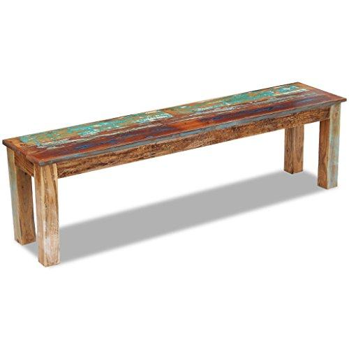 Festnight Retro-Stil Holzbank Sitzbank Ruhebank aus Recyceltes Massivholz Multifunktional Massivholzbank 160 x 35 x 46 cm - 3
