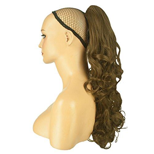56 cm queue de cheval boucles toumbants - Brun cendré clair - Clip-in pièce de extensions de cheveux réversible - Avec griffe-clip - 30 Couleurs - 250g