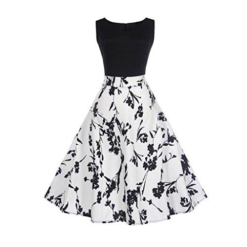OVERDOSE Damen Blumen Vintage 1950er Ärmellos Casual Abend Partei Abschlussball Schwingen Kleid...