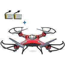 Yacool® JJRC H8D RC Quadcopter Helicóptero teledirigido con transmisor FPV Monitor en tiempo Real Video modo de transporte,5.8 G 2MP HD cámara + 2 extra baterías