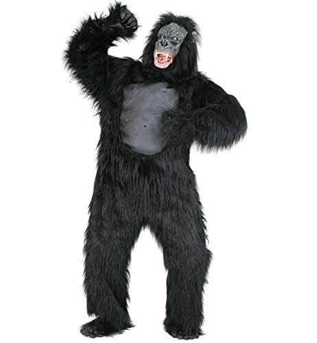 KarnevalsTeufel Gorilla - Kostüm für Erwachsen, 6-TLG. Kopf, Ganzkörperanzug, Hände und Füße | Größen: M, XL | Tierkostüm, AFFE, Karneval, Fasching, Halloween ()