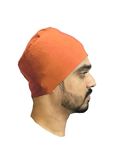 MULTICOLORS BEANIES MENS BEANIES STYLISH BEANIES CAP FOR MEN BIKERS BEANIES UNDER HELMET CAPS CHEMO CANCER CAPS SUMMER BEANIES SLEEP TURBAN EAR COVER CAPS COTTON BEANIES CHEMO THERAPY HEADWRAP (Orange)