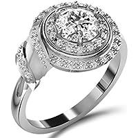 14kt oro bianco di forma rotonda diamante