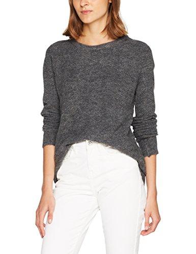 VERO MODA Damen Pullover Vmginger Vali LS O-Neck Blouse Noos, Grau (Dark Grey Melange), 36 (Herstellergröße: S) (Damen-pullover Strickmuster)