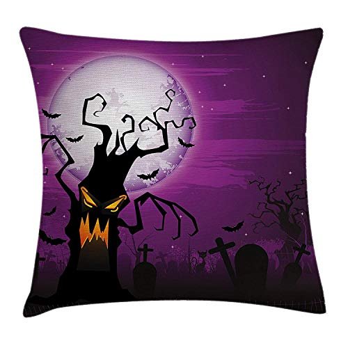 (WYICPLO Halloween Decorations Throw Pillow Cushion Cover, Scary Tree Creepy Human Face and Twiggy Arm Grunge Cemetery Scene, Decorative Square Accent Pillow Case, 18 X 18 inches, Purple Black)