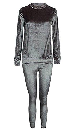 Donna Elegante Vintage Velluto Fashion Slim Fit Set Felpe Pullover Sweatshirt Manica Lunga Rotondo Collo Felpa e Pantaloni 2 Pezzi Tuta Sportiva Pantalone Pantaloni Tute Grigio