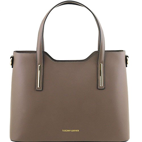 Tuscany Leather - Olimpia - Sac cabas en cuir Ruga - Taupe foncé
