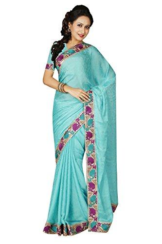Mexo Fashion Women's Satin Sarees (Green)