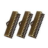 SUPVOX 100 unids Ribbon Ends Metal Bracelet Bookmark Fastener Broches Crimp End Accesorios de la joyería para DIY Craft Jewelry Making (Bronce 2.5 cm)