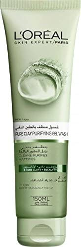 L'Oreal Paris Pure Clay Green Face Wash with Eucalyptus, Purifies and Mattifies, 1