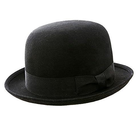 Bowler-Hut, 100% Wollfilz, klassisch, rund, Schwarz schwarz schwarz