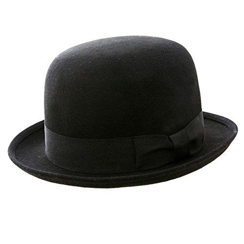 (Bowler-Hut, 100% Wollfilz, klassisch, rund, Schwarz schwarz schwarz M 57 Cm)