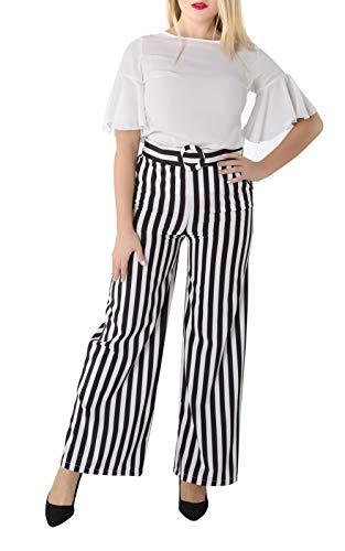 Damen Gestreifte Hose Sommerhose lang Weite Palazzo mit Schlabberhose Belted Hohe Taille mit Streifen in schwarz weiß -