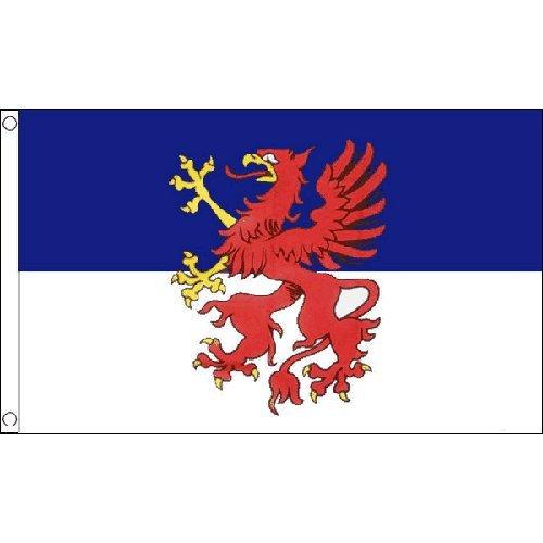 """Preisvergleich Produktbild 1.52 X meters 0.91 meters Pommern Flagge Deutschland, Germany """"VORPOMMERN"""", mit 2 Ösen"""