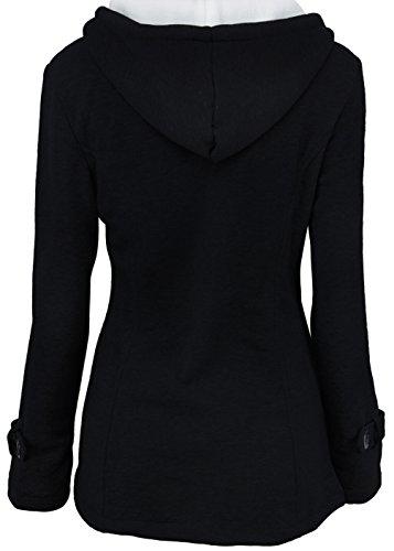 Sweat Femme Manteau Capuche Pull 2017 Manches Longues Sweat Shirt Avec Poche Zippé Hoodies Gilet Bouton Blouson Casual Automne Hiver Veste Chaude Mode élégant Outwear Jacket Coat Noir