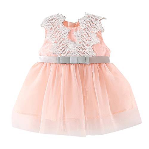 Frashing-Mädchen Kleider LLonGao Neugeborene Kinder Baby Gir Spitze Tüll Patchwork Tutu Prinzessin Party Kleid Sommerkleid Bogen Mini Elegant ()
