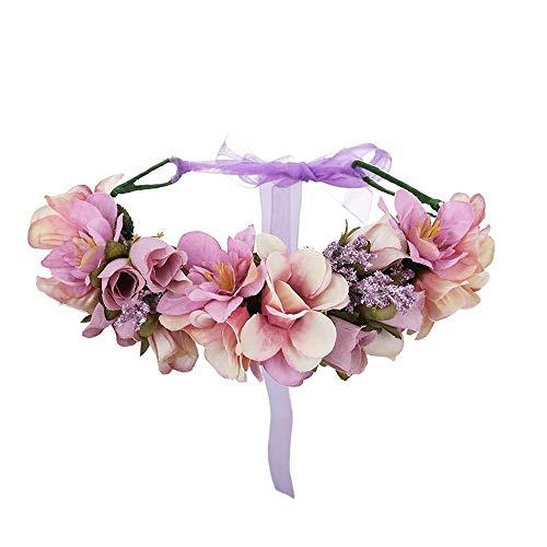 Shunbao Damen Hochzeit Blumen Krone Stirnband Blumenkranz Blumenkranz Stirnband Brautjungfer Brautschmuck Stirnband Haarband 2