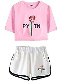 Payton Moormeier Mujer Conjunto de T-Shirt y Pantalones Cortos Niñas Cuello Redondo Camisetas de Manga Corta y Shorts Chándal de Deportiva para Yoga Fitness - A15168
