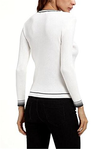Kerlana Sweater Femmes Casual Manches Longues Col O Pull En Tricot Top RayÉ Blouse Mode Chaud white