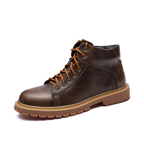 SHENNANJI Herrenmode Hohe Stiefeletten Ankle Work Boot Lässige Vintage Runde Zehe Lace Up Britischen Stil Stiefel (Color : Bronze, Größe : 41 EU) -