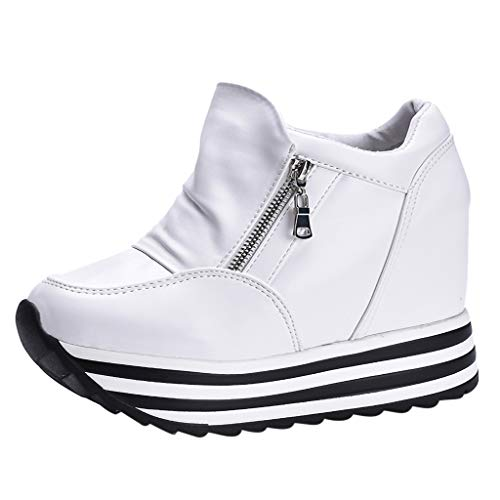 Dragon868 Scarpe Donna Elegante con Tacco 7cm Sneakers con Cerniera Plateau Sportive Scarpe A Zeppa Nero Bianco Argentato pellenta Rotonda Platform Stivaletti Casual