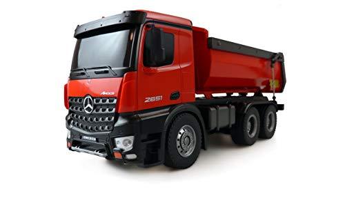 Amewi 2 22407 Elektro RC Modell Inkl. Akku und Ladegerät Mercedes-Benz Arocs Lizenz LKW Kipper 2,4GHz RTR rot