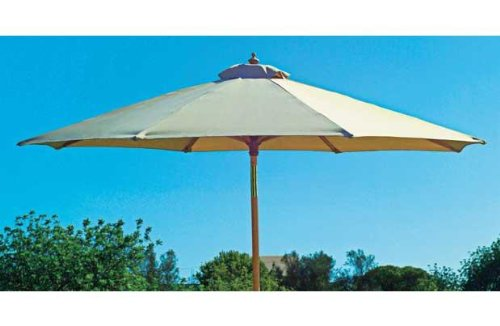 NEW CREAM 2m PARASOL FSC HARDWOOD UMBRELLA CANOPY WOODEN GARDEN PATIO FURNITURE