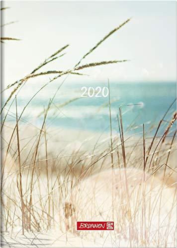 BRUNNEN 107951503 Buchkalender Modell 795 (1 Seite = 1 Tag, 14,5 x 20,6 cm, Grafik-Einband Strand, Kalendarium 2020)