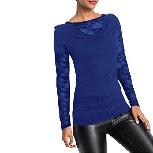 Chemisier printemps automne,Femmes automne printemps solide longue manche Chemisier Femmes manches longues dentelle patchwork chemise Casual chemisier coton T-Shirt by LHWY (M, Bleu)