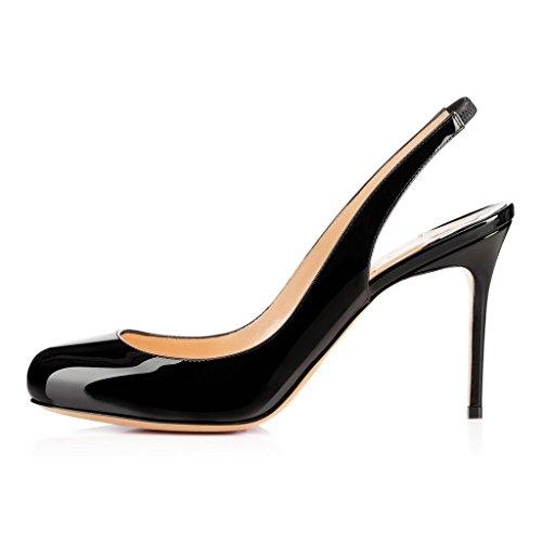 EDEFS Femmes Artisan Fashion Sandales Classiques Lady Délicats Bout Ronds Décolleté Chaussures à talon aiguille de 85mm Travail Bureau Noir Noir