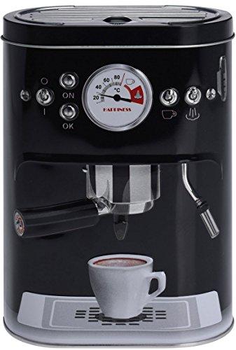 Vorratsdose mit Kaffemaschinen-Motiv | Schwarz