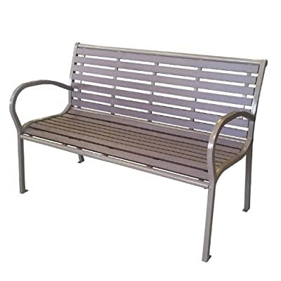 Gartenbank Metall Polywood / Non Wood Parkbank Sitzbank 125x80x62cm Gartenmöbel Terrassenmöbel Balkonmöbel