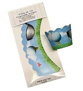 12 x Cupcake-Packungen im Golf Design oder für Kuchendekoration