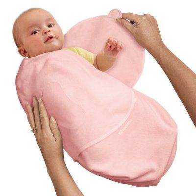 SwaddleMe L2P Neugeborenes/Luxus-Velboa/rosa - Ganzkörper-Pucksack ist ideal bei Schreibabys. Small.