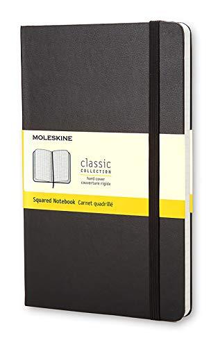 Moleskine Notebook Classic Pagina a Quadretti, Taccuino Copertina Rigida e Chiusura ad Elastico, Colore Nero, Dimensione Large 13 x 21 cm, 240 Pagine