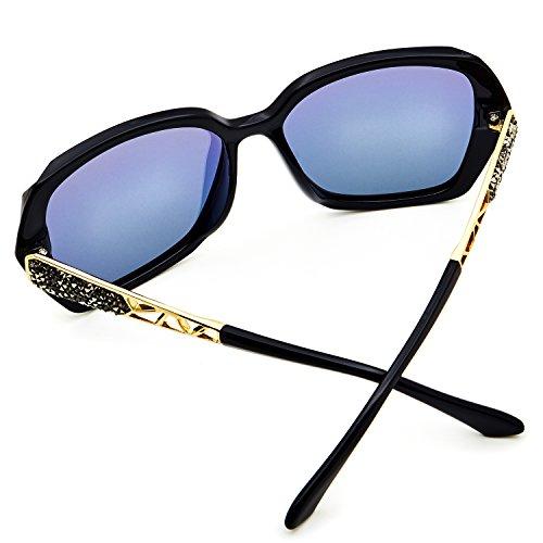 086b34e5c8 LECKIRUT Donna Ombra Classico Oversize Polarizzati Occhiali da Sole 100% UV  Protezione Occhiali nero montatura rosa lente