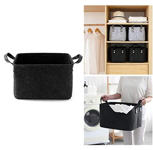 Filzkorb, als Wäschekorb oder zur Aufbewahrung von Spielsachen, Schwarz , Large -